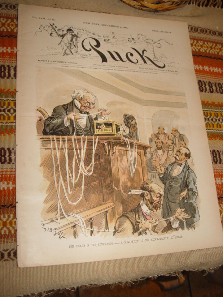 PUCK Vol XXVI                                         Sept 4, 1889 Antique Political                                         Satire Magazine Pulp
