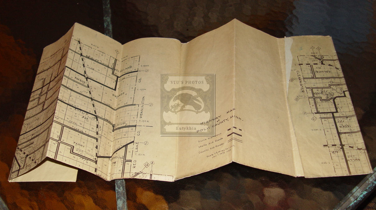 Early 1933 Hand drawn Polk                                         County Minnesota Highway and                                         Road map