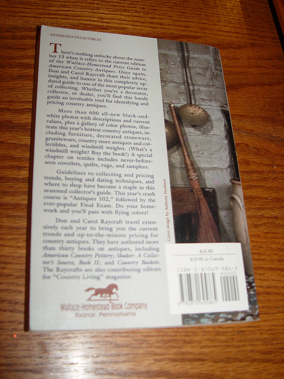 Wallace Homestead Price                                         Guide To American Country                                         Antiques ~ Raycraft 1994