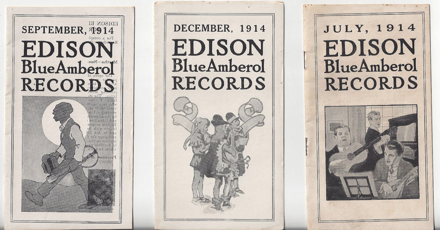 July, Sept, and Dec 1914                                         Orig. Edison Blue Amberol                                         Records pamphlets ~ AR Hawkinson                                         Mazeppa, MN