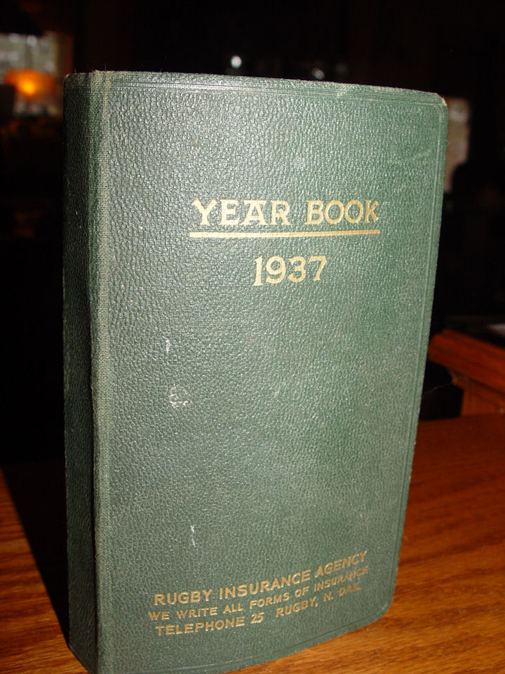 1937 Yearbook full of                                         Quips, Philosophy, Poetry,                                         Mutterings Famous Authors Scrap                                         Memories ~ Rugby North Dakota                                         Insurance Agency Advertising                                         book.