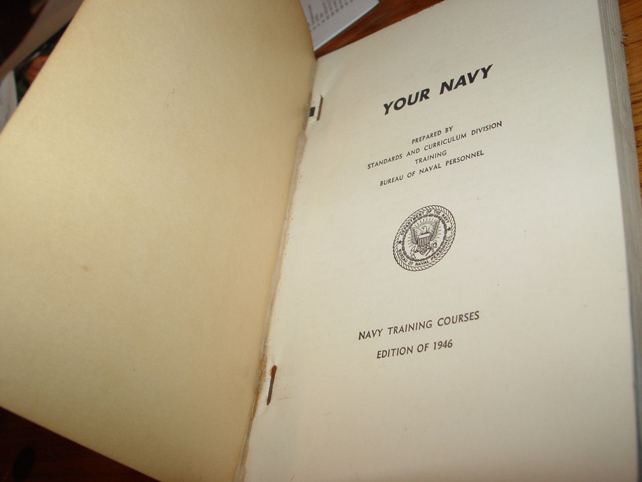 Your Navy:                                                 Navpers 10600, Navy                                                 Training Courses Edition                                                 of 1946 by Standards And                                                 Curriculum Division                                                 Training Bureau Of Naval                                                 Personnel
