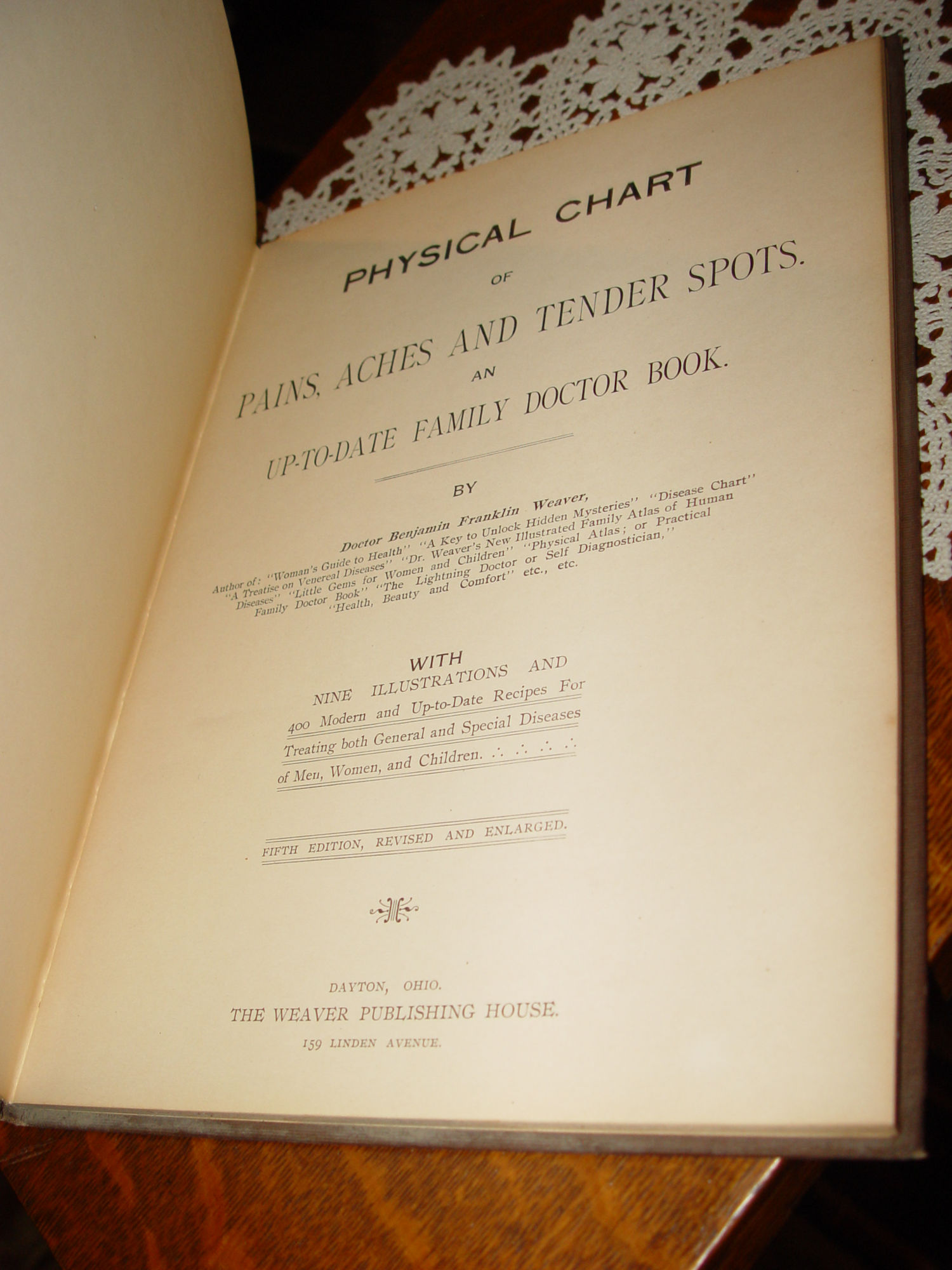 Dr. Weaver's                                         Physical Chart Pains and Aches ~                                         A Practical Family Doctor Book                                         Weaver Publ. 1911