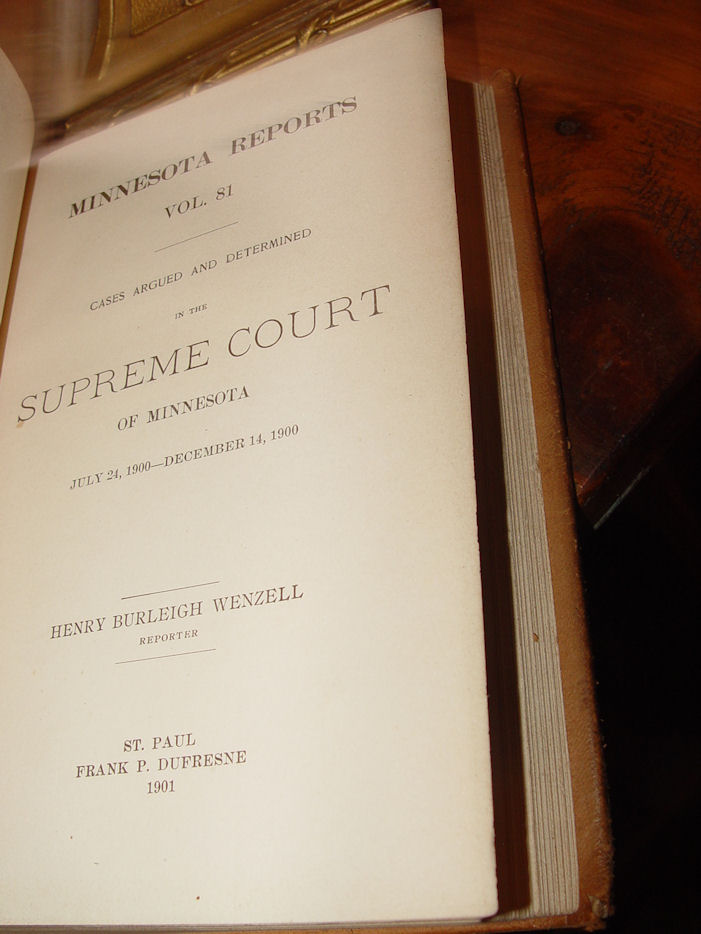 Minnesota                                         Reports (Volume 76) Orig.                                         Leather Hardcover 1900 – Cases                                         from April 1899 - June 1899 by                                         Minnesota. Supreme Court