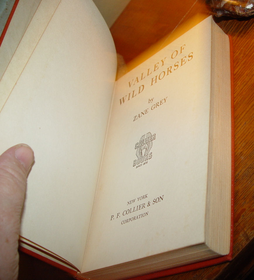 Valley of the                                         Wild Horses by Zane Grey ~                                         Published by Collier & Sons                                         1927 First
